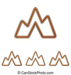 Brown line landscape logo design set