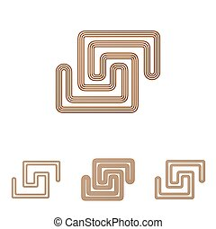 Brown line scientific logo design set