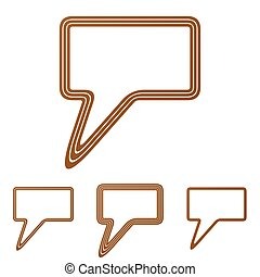 Brown line speech bubble logo design set
