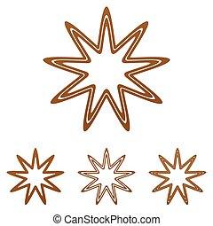 Brown line star logo design set