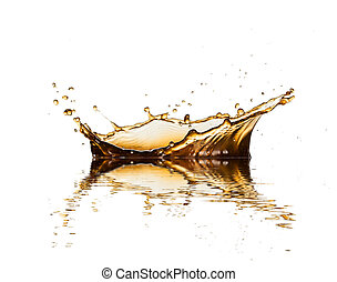 Brown liquid splash of coffee or cola, isolated on white background