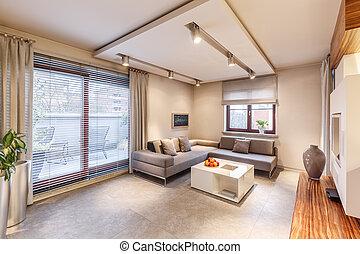 Brown living room interior design