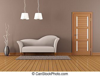 Brown living room with white sofa and closed door -...