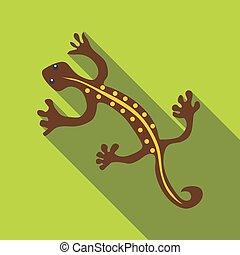 Brown lizard icon, flat style