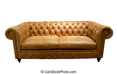 Brown luxurious sofa isolated on white background, front view.