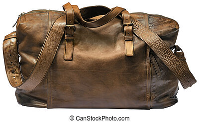 brown luxury travel leather bag isolated on white background