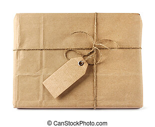 Brown mail delivery package with tag - Brown mail package...