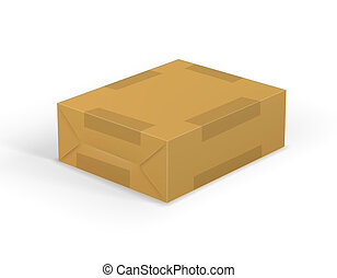 parcel - Brown mail package parcel wrap delivery with tag,...