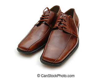 Brown male shoes isolated on the white
