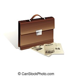 Brown man briefcase and newspaper on white background. Realistic isolated 3D vector illustration.