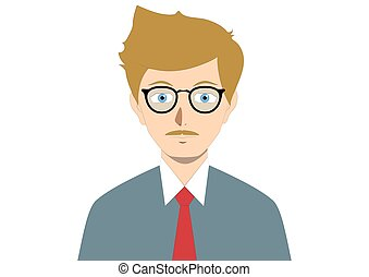 Brown man with glasses. Cartoon people