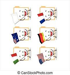 Brown manila folder cartoon character bring the flags of ...