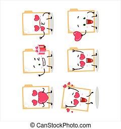 Brown manila folder cartoon character with love cute ...
