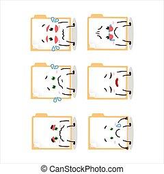 Brown manila folder cartoon character with sad expression....