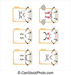 Brown manila folder cartoon character with various angry ...