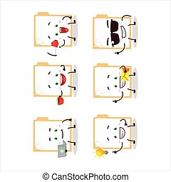 Brown manila folder cartoon character with various types of ...