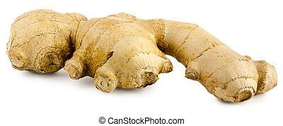 Brown medical ginger root isolated on white background