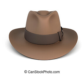 Brown mens hat isolated on white background. 3d illustration...