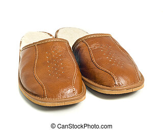 Brown mens house slippers over the white