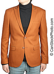 Brown mens suit jacket, male orange-brown blazer with patch.