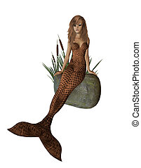 Brown Mermaid Sitting On A Rock - Brown mermaid sitting on a...