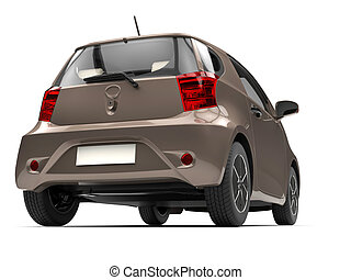 Brown metallic small urban compact car - rear low angle view