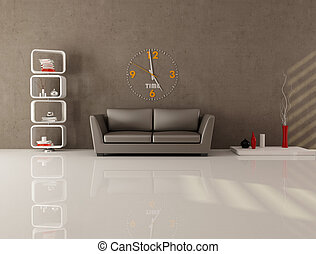 brown minimal lounge - brown living room with contemporary...