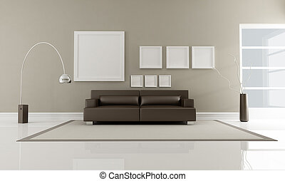 modern brown leather sofa in minimalist interior-rendering