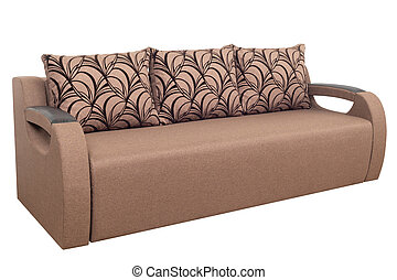 Brown Modern Sofa furniture isolated on white background.
