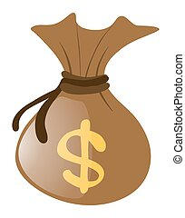 Brown money bag on white background