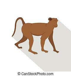 Brown monkey icon, flat style
