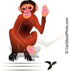 Brown Monkey sitting with raised hand (gesture, hi), cartoon on white background,
