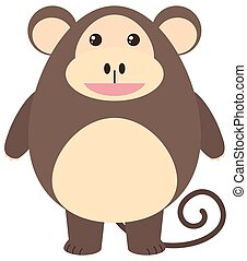 Brown monkey with happy face