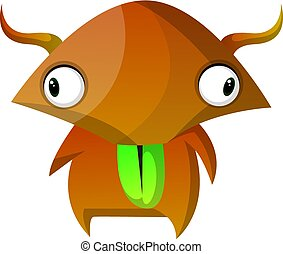 Brown monster with wide eyes illustration vector on white background