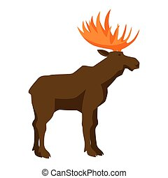 Brown moose with horns.