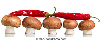 Brown mushrooms champignons and red hot chili peppers isolated on white.