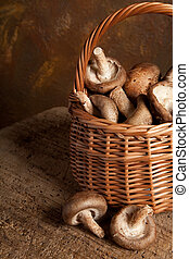 Fresh brown mushrooms in a small basket