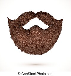 Brown mustaches and beard isolated on white background