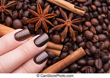 Brown nails .