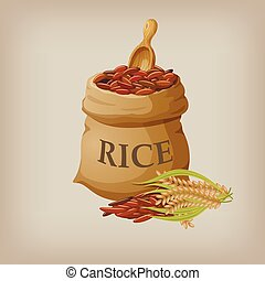 Brown natural long rice in small burlap sack. Vector...