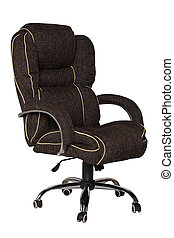 Brown office armchair isolated on white background