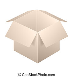 Brown Open Box Icon, Template. Isolated On White Background.