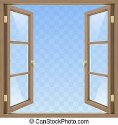Brown open window - Brown Classic wooden open window with...