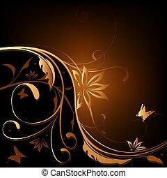 Brown-Orange Floral backg