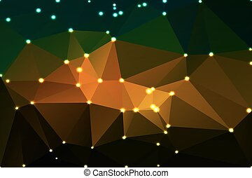 Brown orange green geometric background with lights