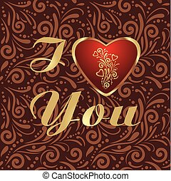 Brown ornamental pattern with shining heart to the valentines day