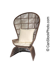 Brown outdoor peacock armchair isolated on white background