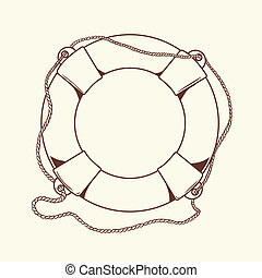 Detailed brown outlines nautical life buoy isolated on beige background. Ship element. Vector illustration.