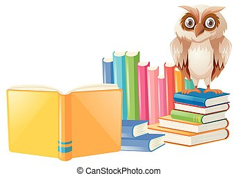 Brown owl and many books illustration