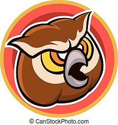 Brown Owl Cartoon Head